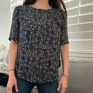 A.L.C. Tiered floral short sleeve blouse